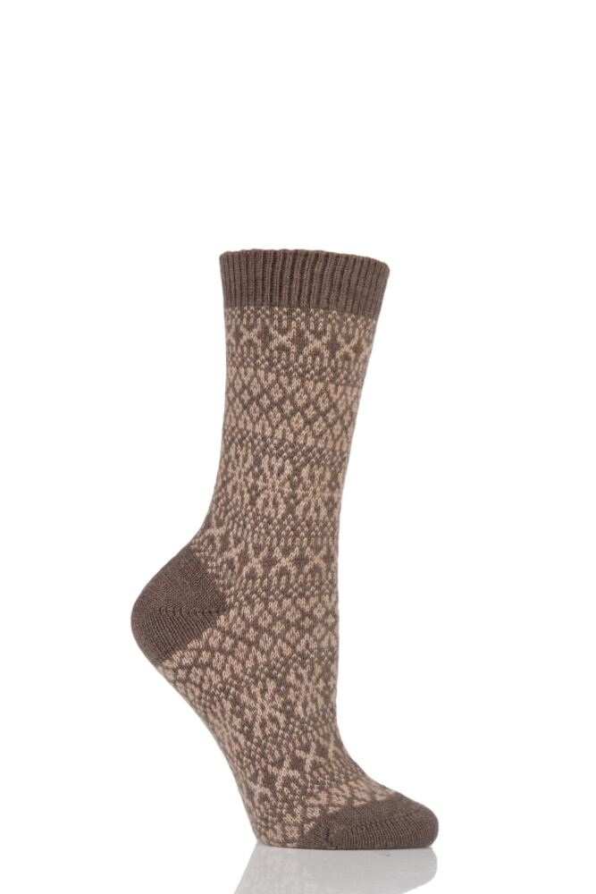 Ladies 1 Pair Pantherella Faith Winter Fairisle 85% Cashmere Socks