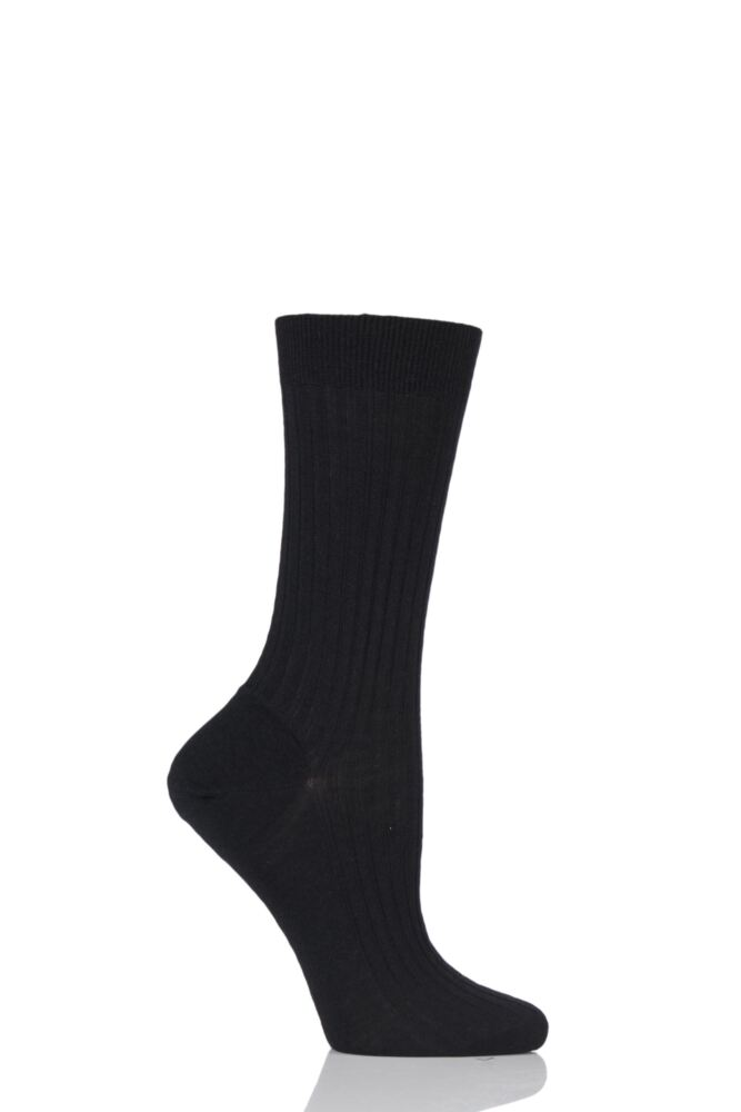 Ladies 1 Pair Pantherella Classic Merino Wool Ribbed Socks