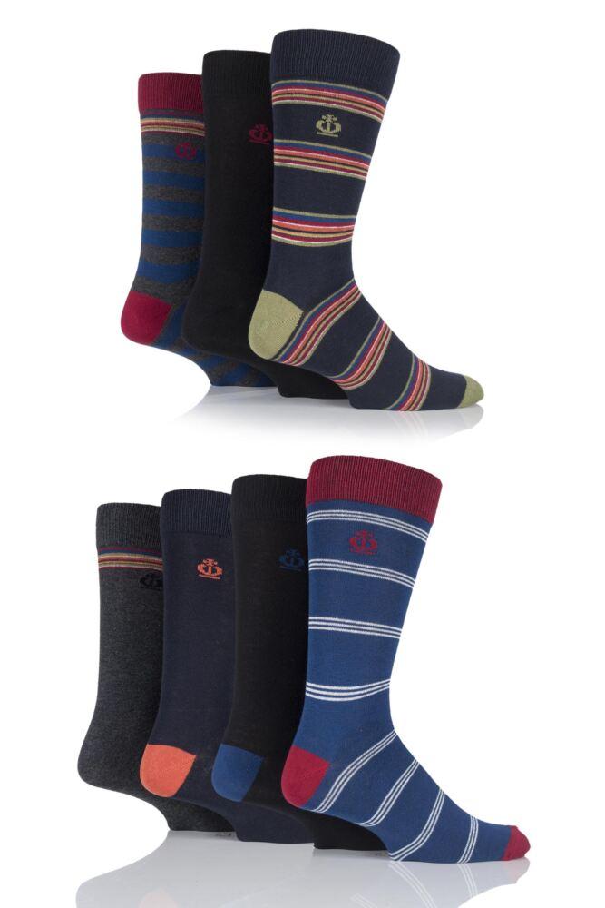 Mens 7 Pair Jeff Banks Bristol Varied Striped and Plain Cotton Socks