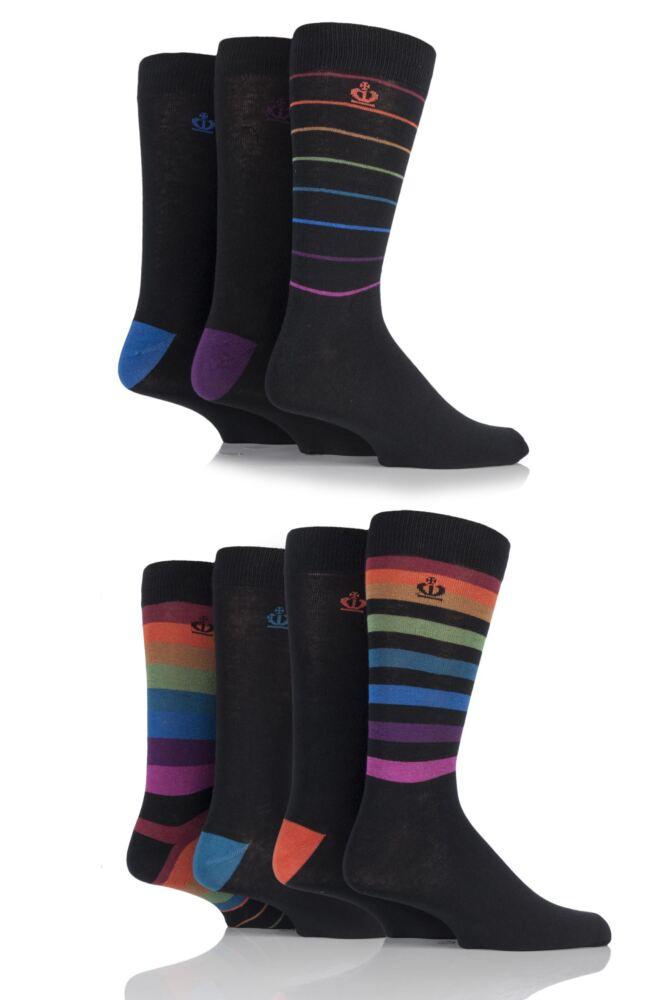 Mens 7 Pair Jeff Banks Bristol Plain and Bright Striped Cotton Socks