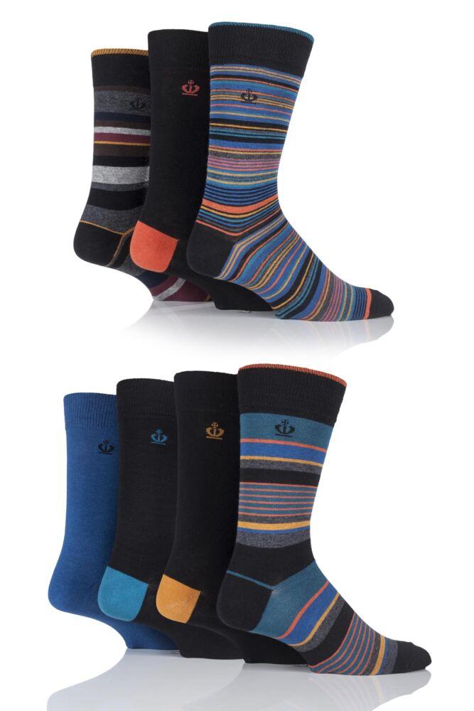 Mens 7 Pair Jeff Banks Bradford Mixed Striped and Plain Cotton Socks