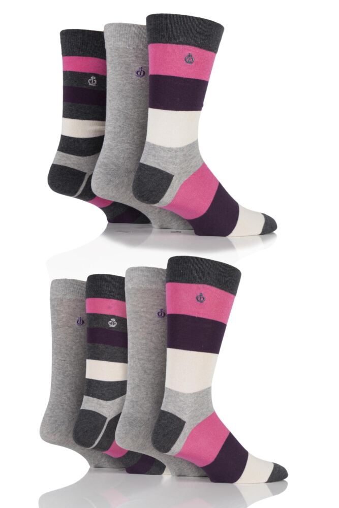 Mens 7 Pair Jeff Banks New Lincoln Plain and Block Striped Cotton Socks