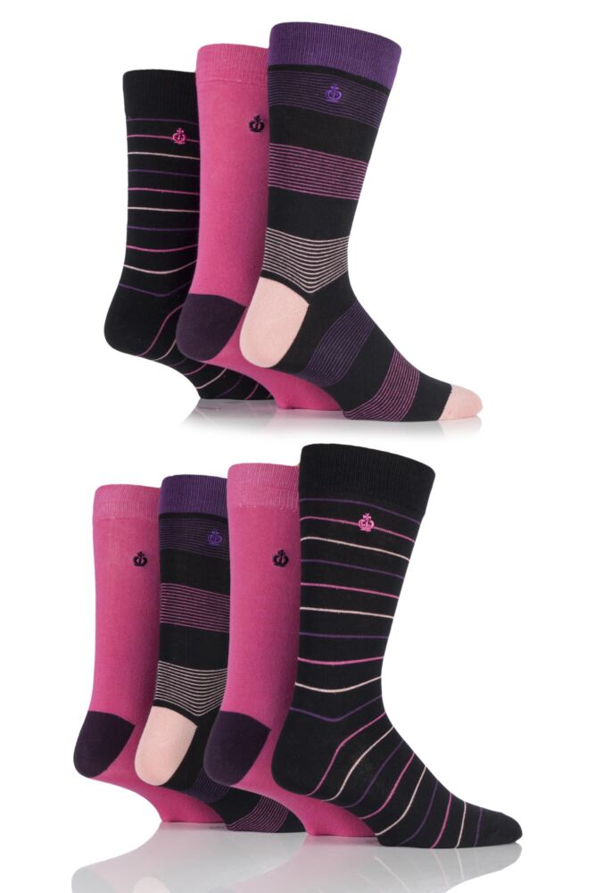 Mens 7 Pair Jeff Banks New Ripon Fine Striped and Plain Cotton Socks