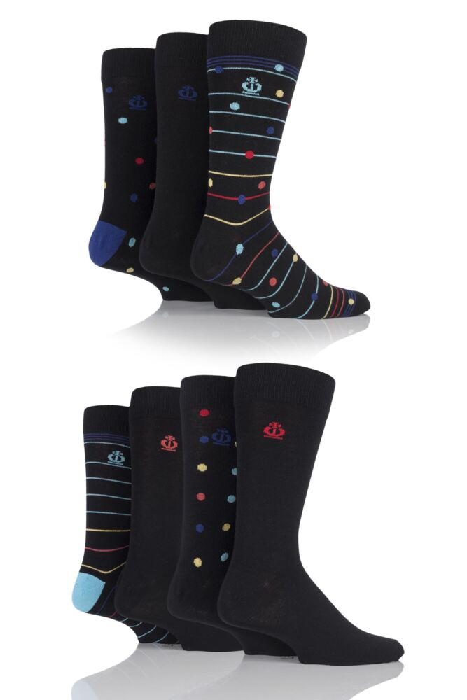 Mens 7 Pair Jeff Banks Hereford Striped, Dots and Plain Cotton Socks