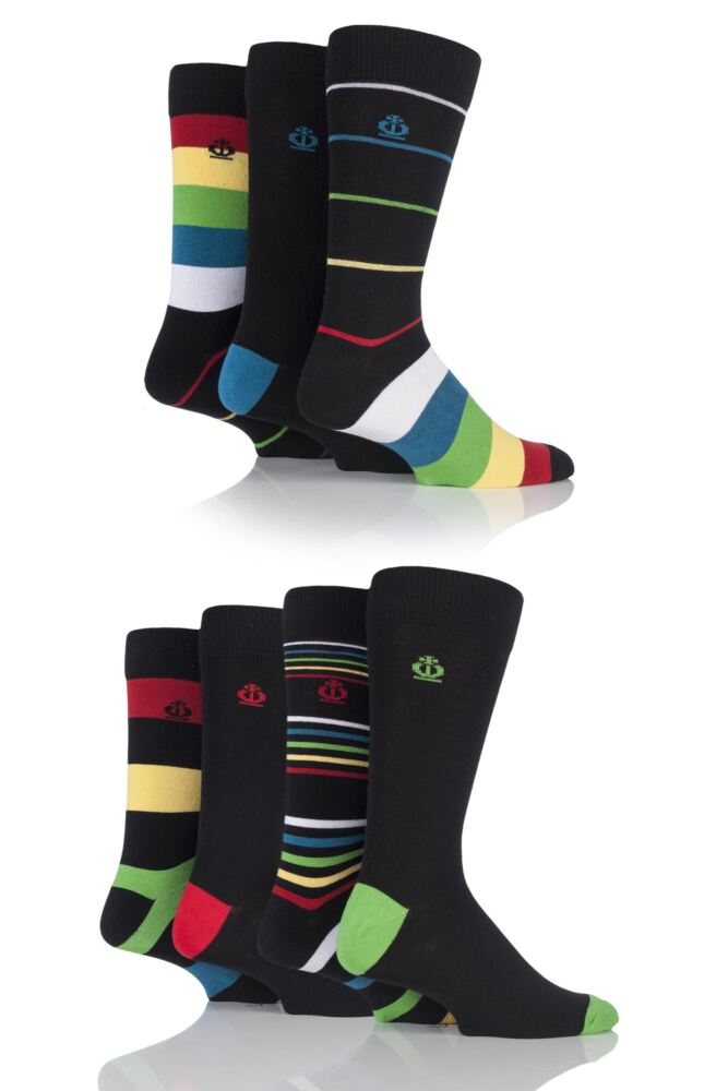 Mens 7 Pair Jeff Banks Hastings Varied Striped and Plain Cotton Socks