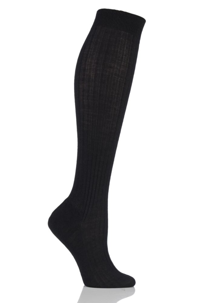 Ladies 1 Pair Pantherella Classic Merino Wool Ribbed Knee High Socks