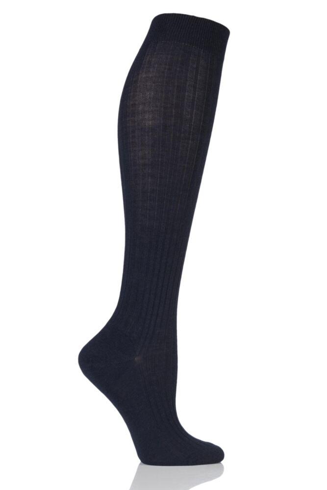 Ladies 1 Pair Pantherella Classic Merino Wool Ribbed Knee High Socks