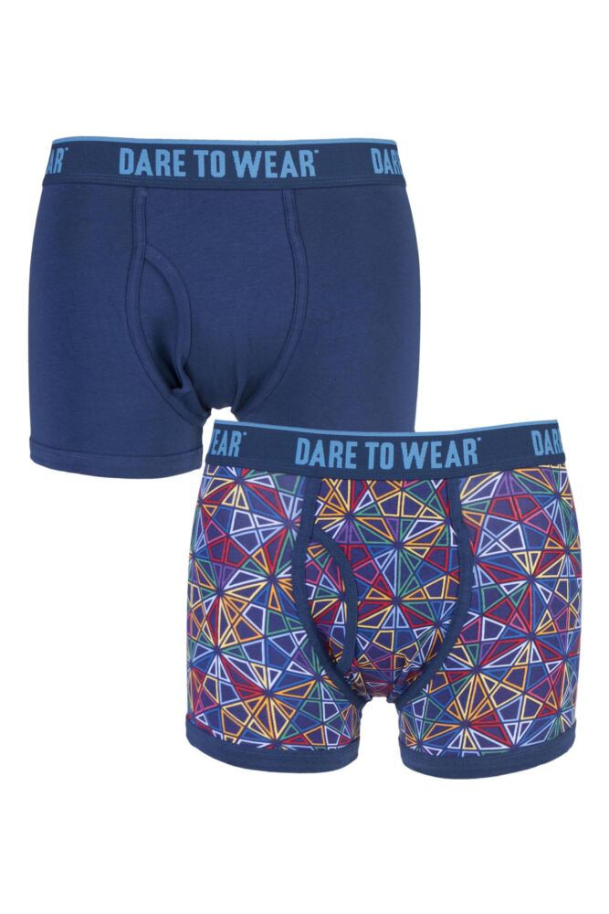 Mens 2 Pack Dare to Wear Fitted Keyhole Trunks with Exclusive Network Art Design