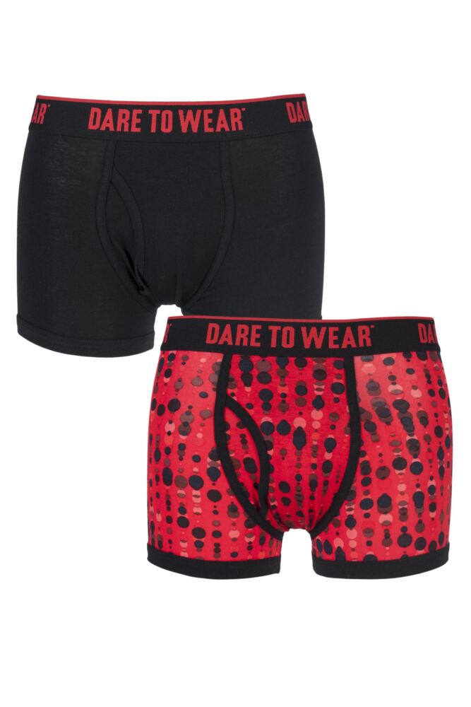 Mens 2 Pack Dare to Wear Fitted Keyhole Trunks with Exclusive Raindrops Art Design