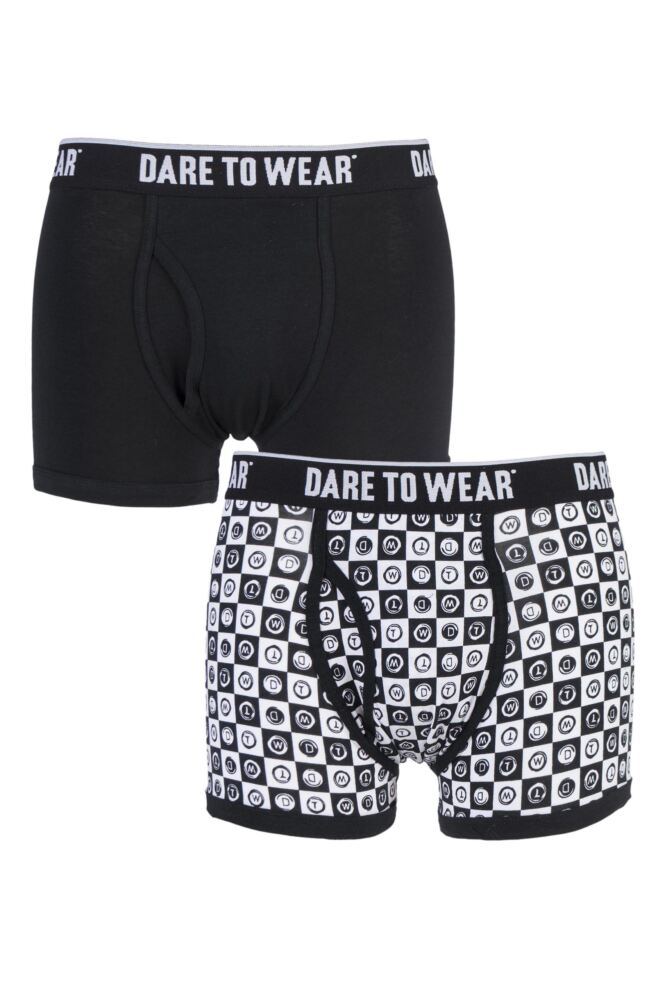 Mens 2 Pack Dare to Wear Fitted Keyhole Trunks with Exclusive DTW Art Design 25% OFF This Style