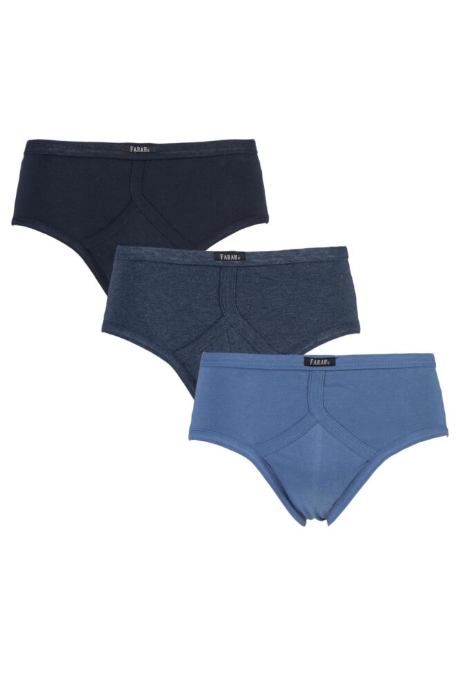 Mens 3 Pair Farah 100% Cotton Plain Classic Briefs with Keyhole Front In Navy and Sky
