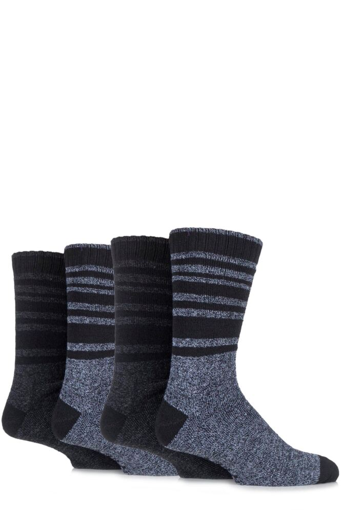 Mens 4 Pair Farah Marl Striped Cotton Blend Boot Socks