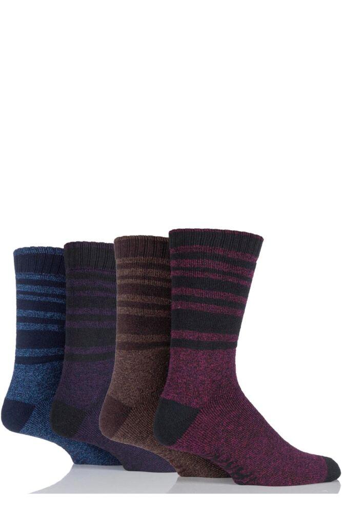 Mens 4 Pair Farah Marl Striped Cotton Blend Boot Socks