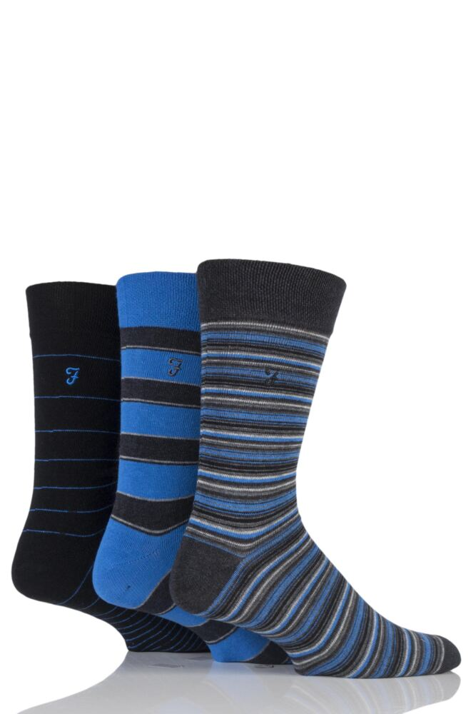 Mens 3 Pair Farah Classic Mixed Stripe Socks