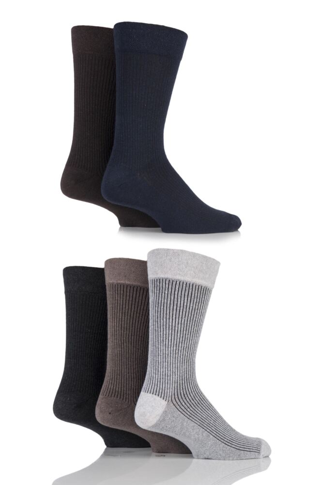 Mens 5 Pair Farah Gentle Grip Vertical Striped Cotton Socks