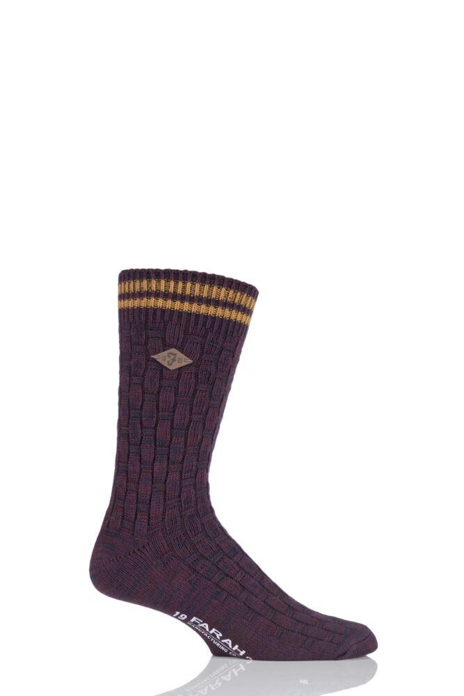 Mens 1 Pair Farah 1920 Cotton Basket Weave Effect Chunky Boot Socks