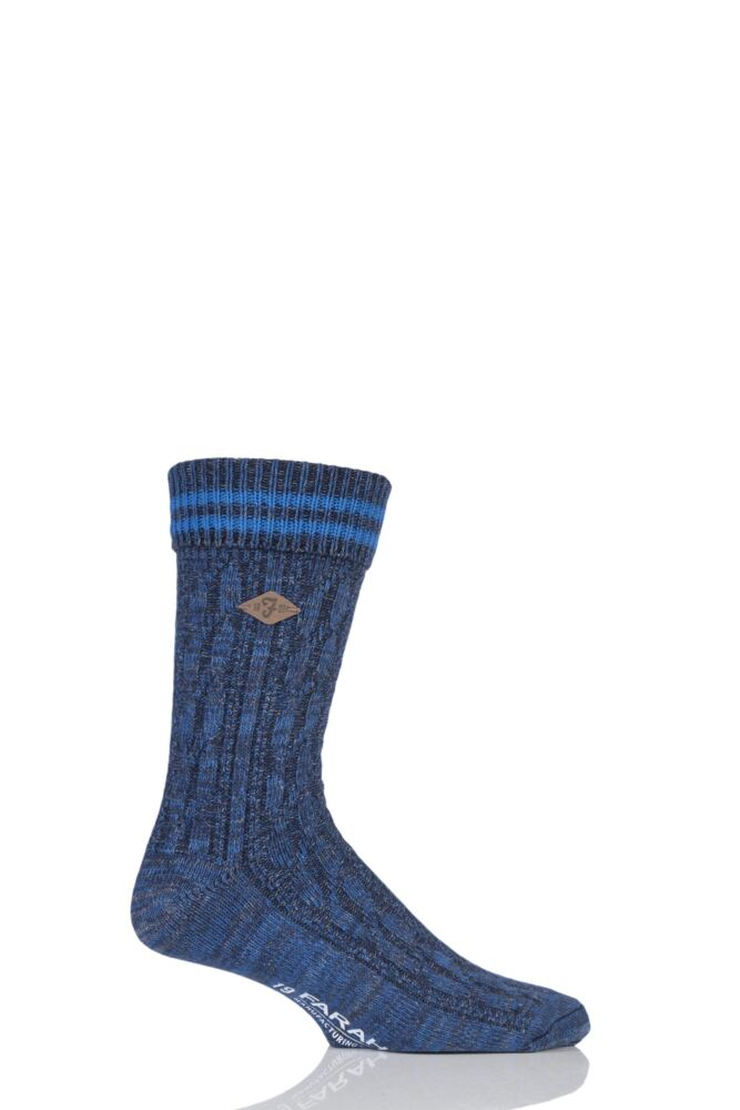 Mens 1 Pair Farah 1920 Cotton Cable Knit Boot Socks with Turn Over Top