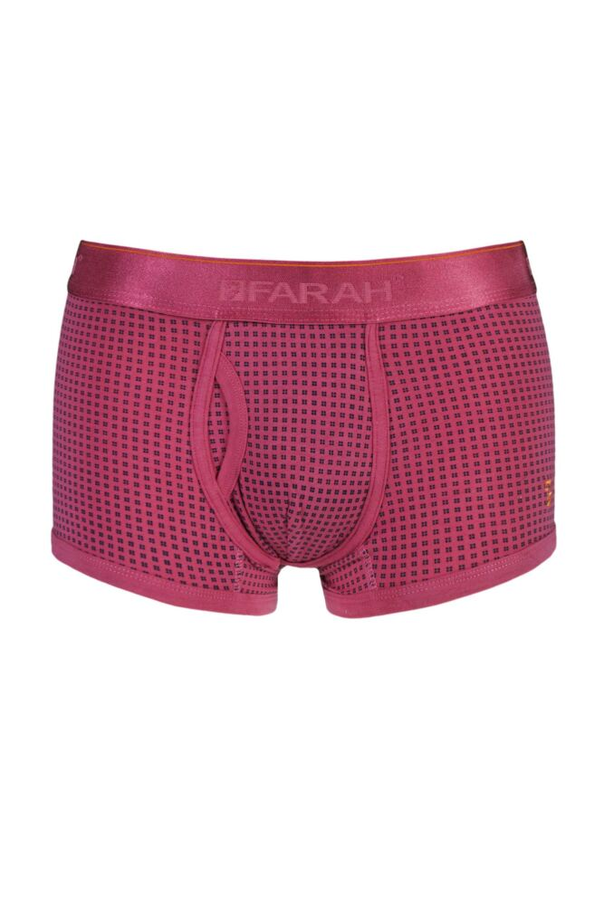 Mens 1 Pair Farah Vintage Printed Keyhole Trunks In Pink