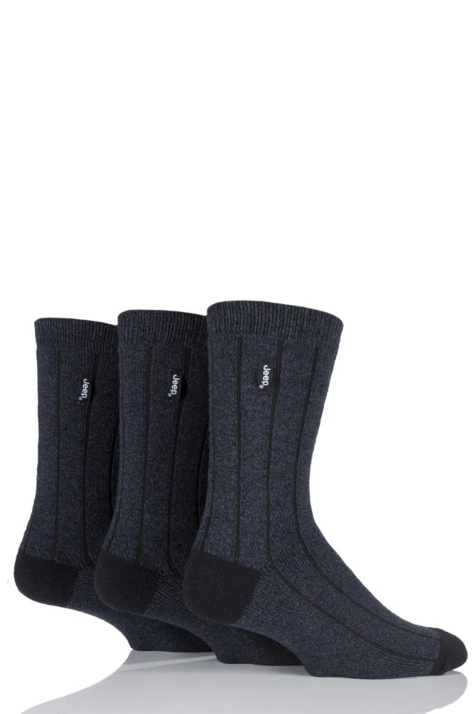 Mens 3 Pair Jeep Casual Rib Socks