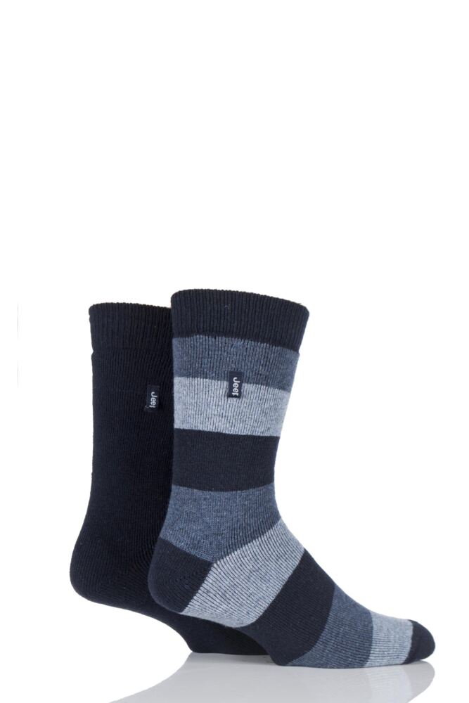 Mens 2 Pair Jeep Rugby Stripe and Plain Wool Mix Boot Socks