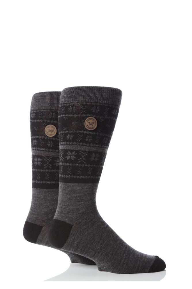 Mens 2 Pair Jeep Spirit Fairisle Socks