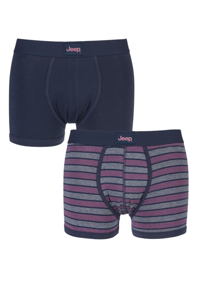 Mens 2 Pack Jeep Wide Stripe and Plain Hipster Trunks