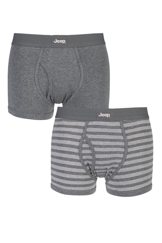Mens 2 Pack Jeep Tonal Stripe and Plain Hipster Trunks