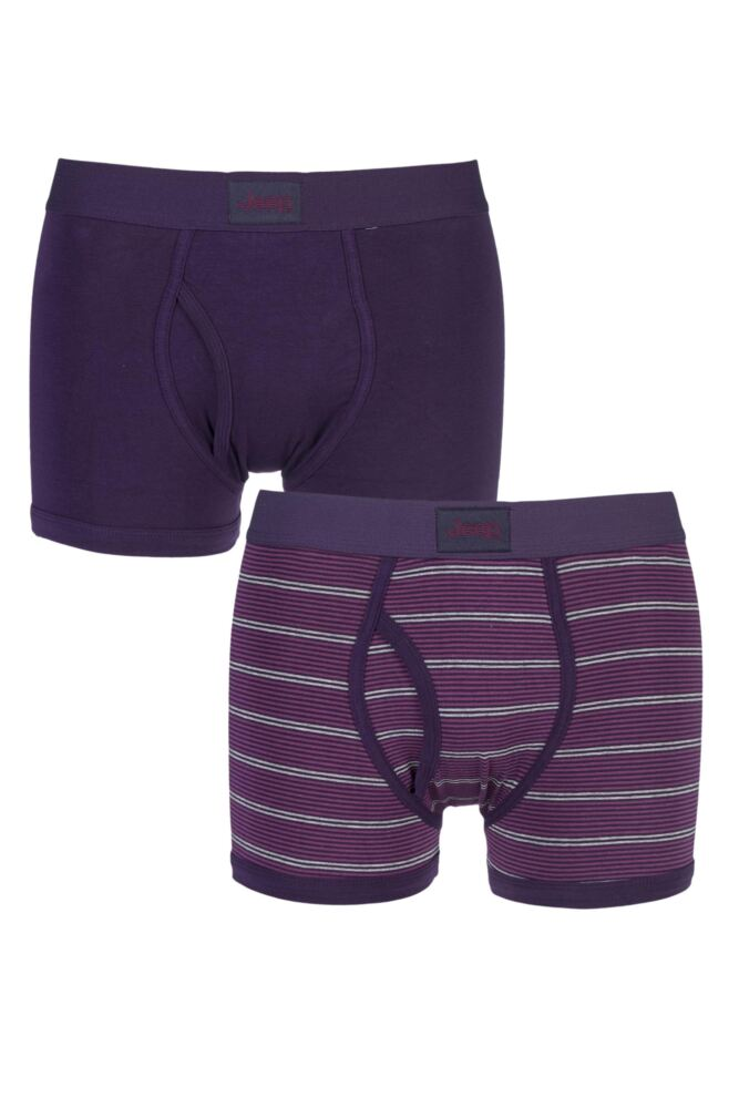 Mens 2 Pack Jeep Micro Stripe and Plain Hipster Trunks