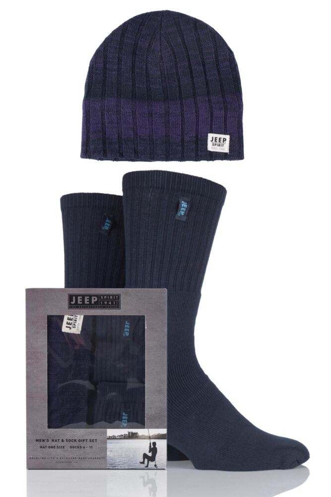 Mens 3 Pack Jeep Gift Boxed Multi Coloured Ribbed Hat and Socks