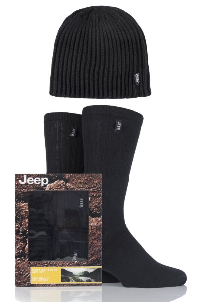 Mens 3 Pack Jeep Gift Boxed Ribbed Hat and Socks