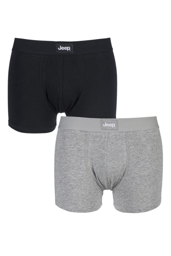Mens 2 Pack Jeep Cotton Plain Fitted Hipster Trunk Boxer Shorts