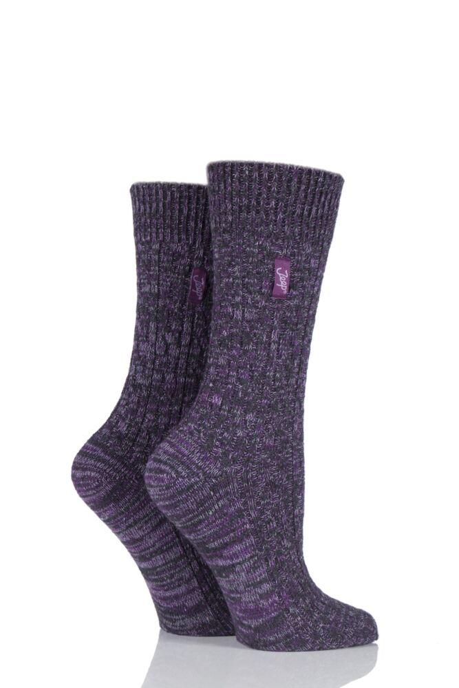 Ladies 2 Pair Jeep Urban Trail Distressed Wool Cable Knit Boot Socks
