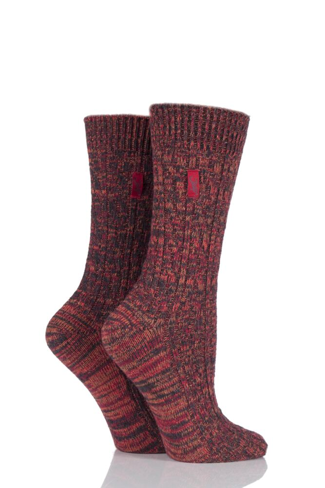 Ladies 2 Pair Jeep Urban Trail Distressed Wool Cable Knit Boot Socks