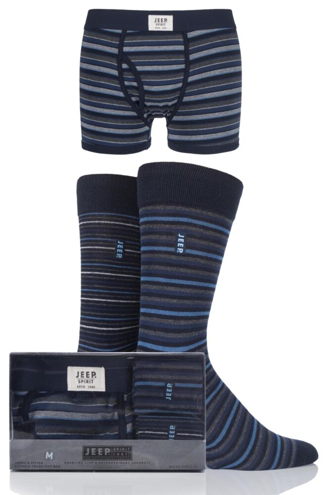 Mens 3 Pack Jeep Spirit Gift Boxed Striped Trunks and Socks
