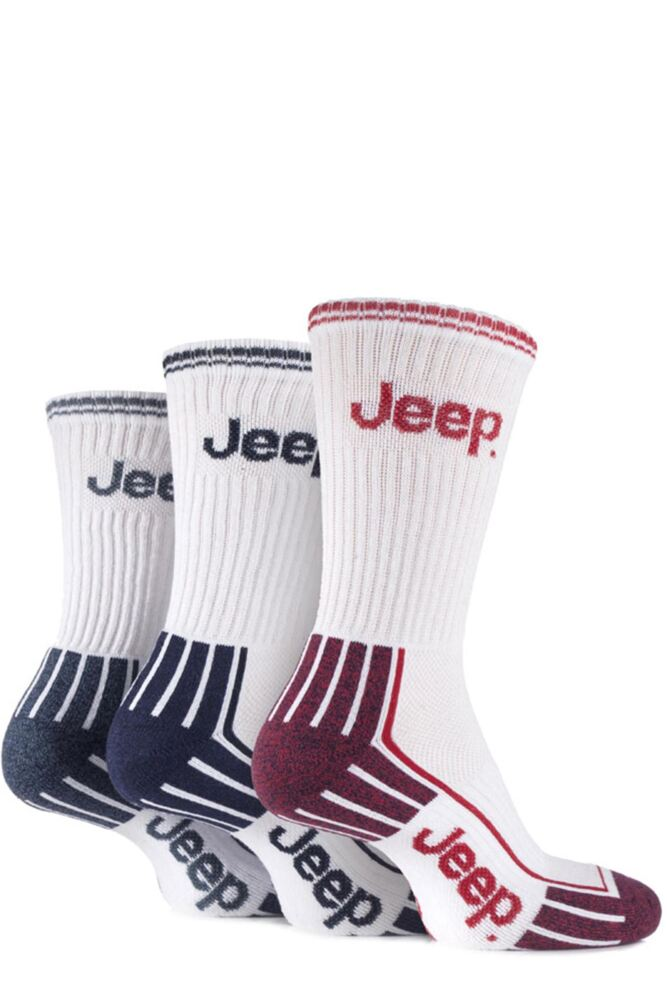 Mens 3 Pair Jeep Cushioned Cotton Sports Socks