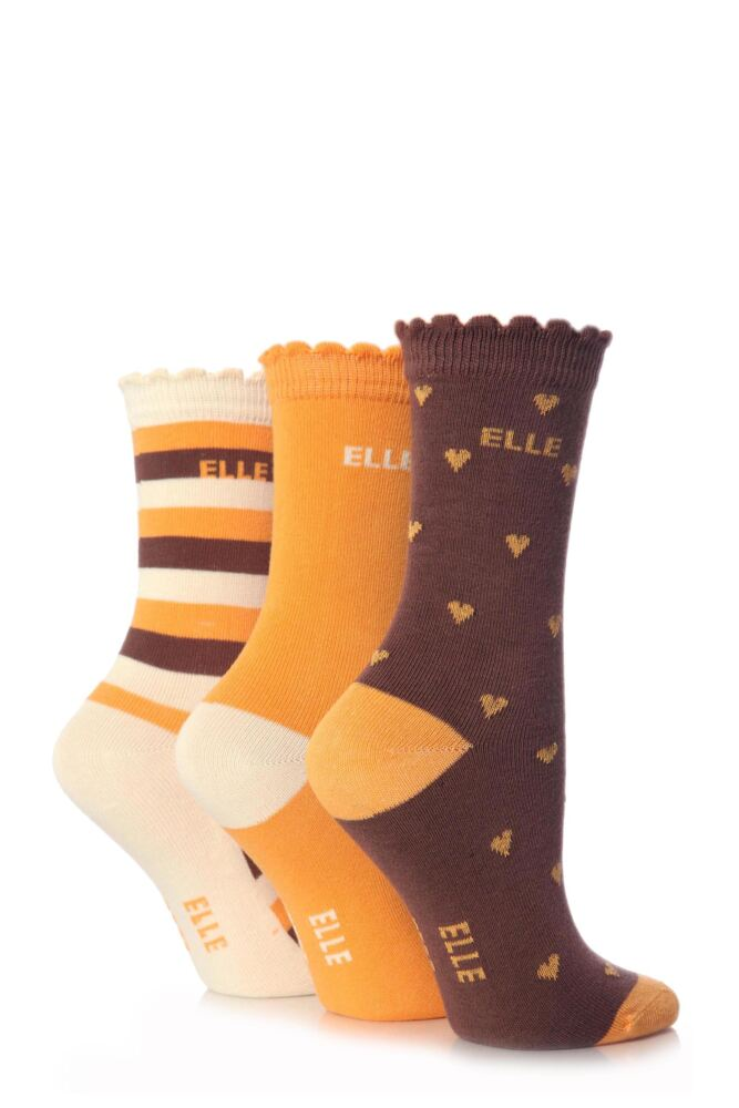 Girls 3 Pair Young Elle Brown Heart, Stripe and Plain Socks
