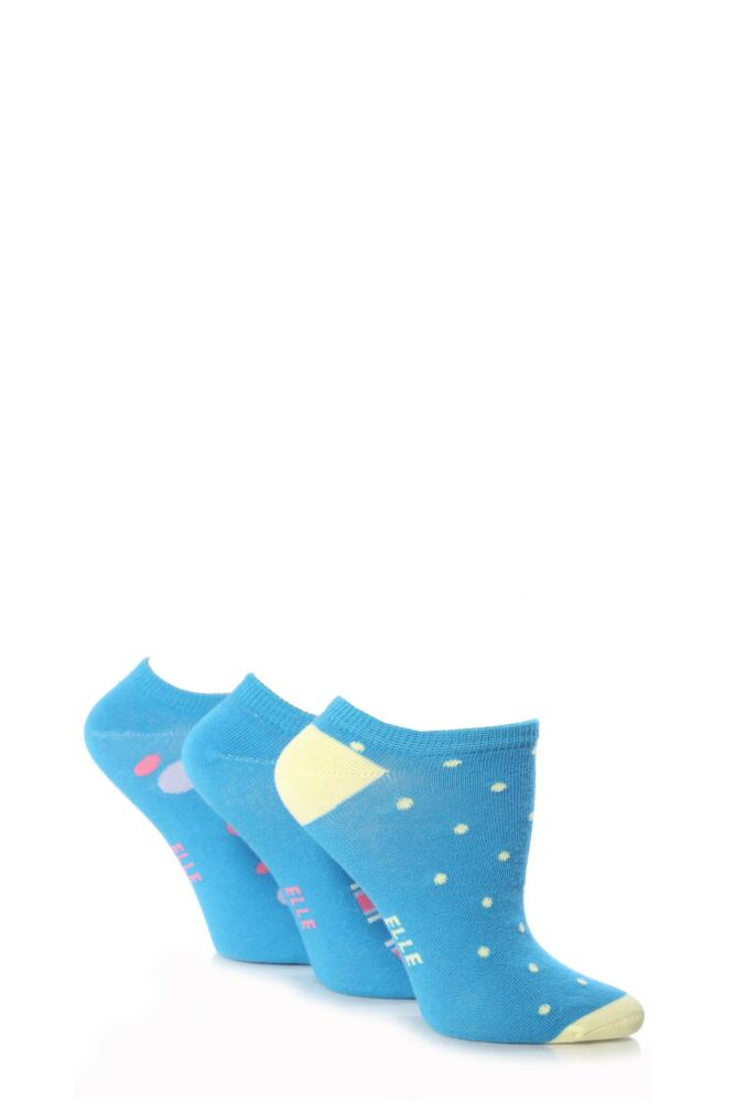 Girls 3 Pair Young Elle Blue Spots and Stripe Trainer Socks 33% OFF