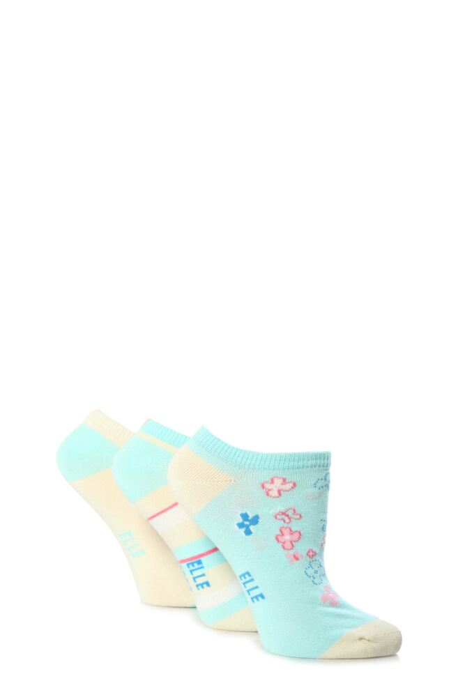 Girls 3 Pair Young Elle Blue Flower and Stripe Trainer Socks 33% OFF