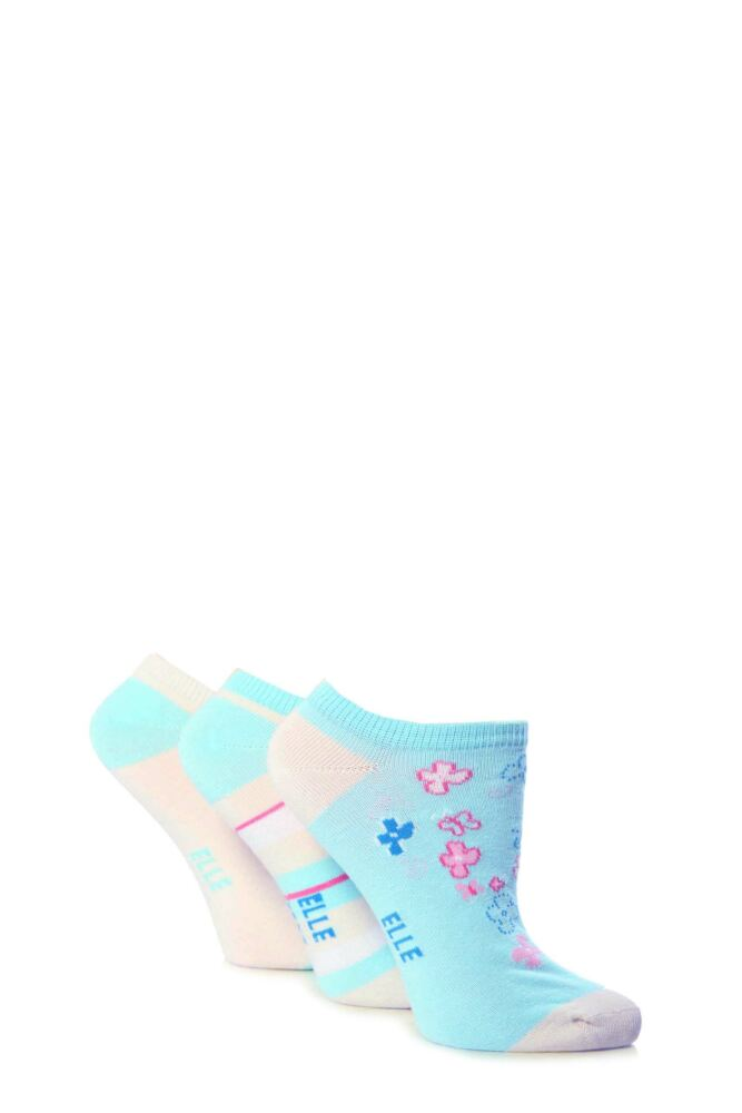 Girls 3 Pair Young Elle Blue Flower and Stripe Trainer Socks