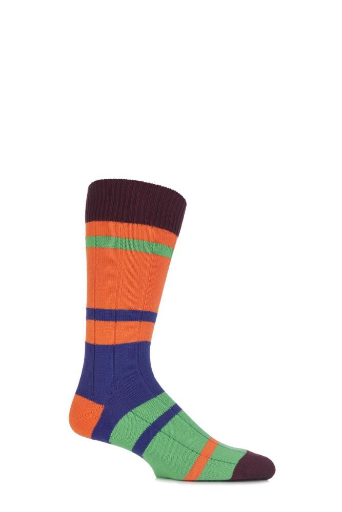 Mens 1 Pair Scott Nichol Silsden Colour Block Striped Cotton Socks