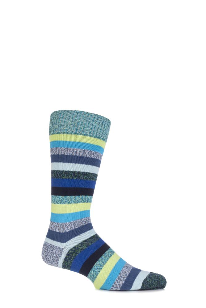 Mens 1 Pair Scott Nichol Morden Multi Striped Cotton Socks