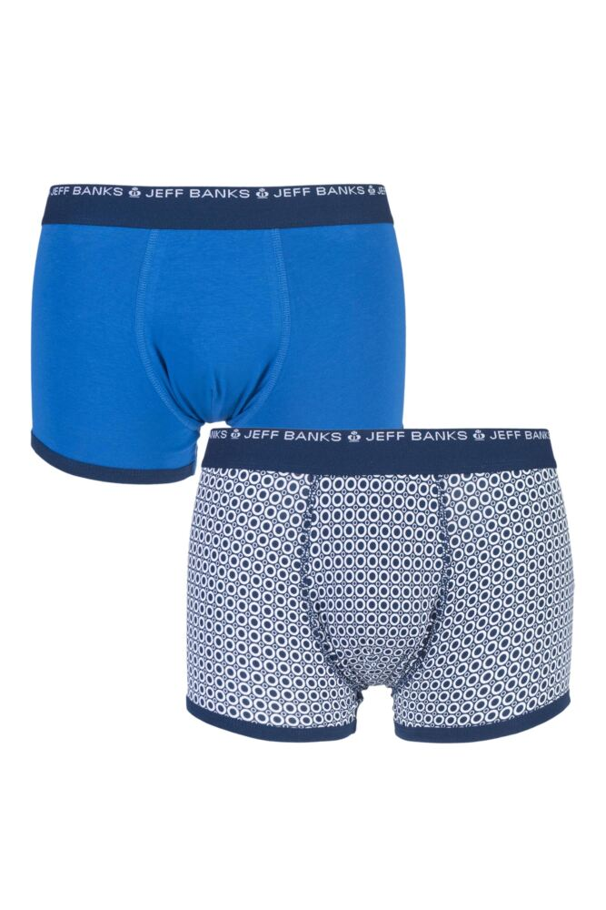 Mens 2 Pack Jeff Banks Wigan Plain and Circle Patterned Cotton Trunks