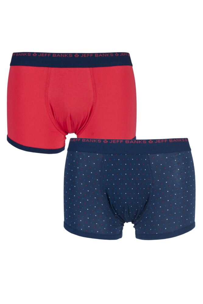 Mens 2 Pack Jeff Banks Bolton Plain and Dotty Cotton Trunks