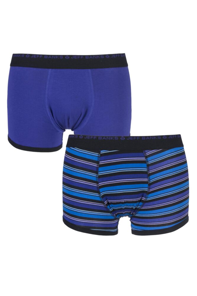 Mens 2 Pack Jeff Banks Salford Plain and Varied Striped Cotton Trunks