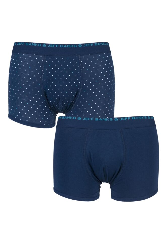 Mens 2 Pack Jeff Banks Plain and Dot Boxer Shorts