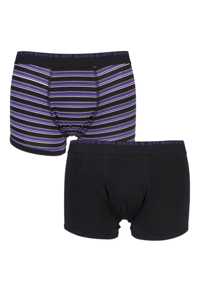 Mens 2 Pack Jeff Banks Plain and Stripe Boxer Shorts