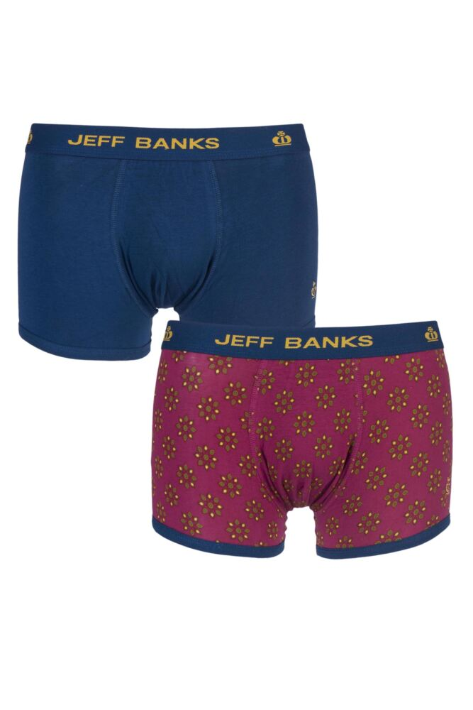 Mens 2 Pack Jeff Banks Hereford Plain and Floral Fashion Trunks