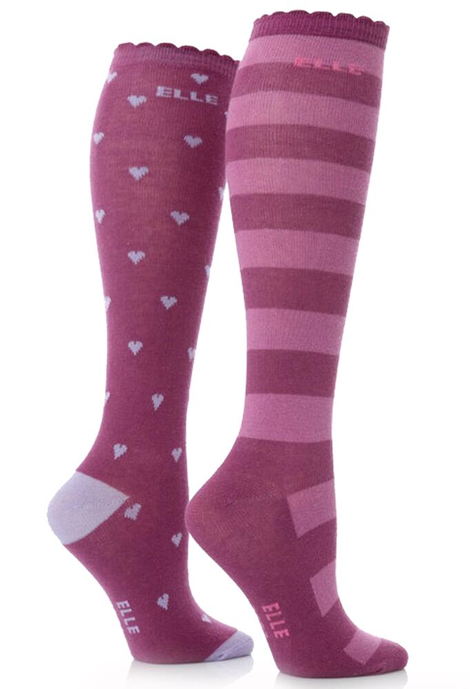 Girls 2 Pair Young Elle Lilac Hearts and Stripe Over Knee Socks 50% OFF