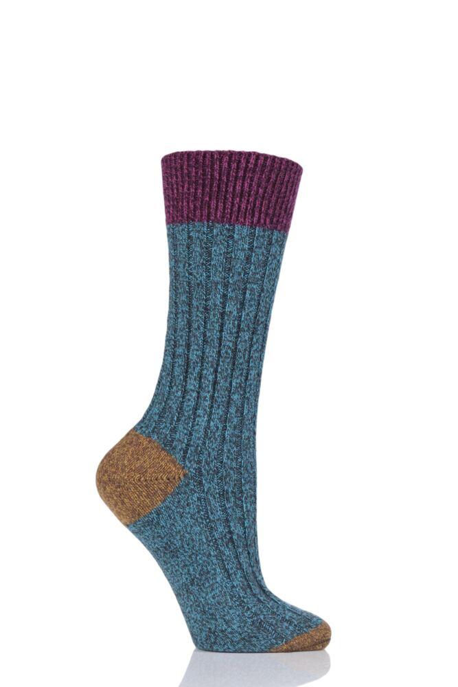 Ladies 1 Pair Scott Nichol Moseley Contrast Heel and Toe Wool Socks