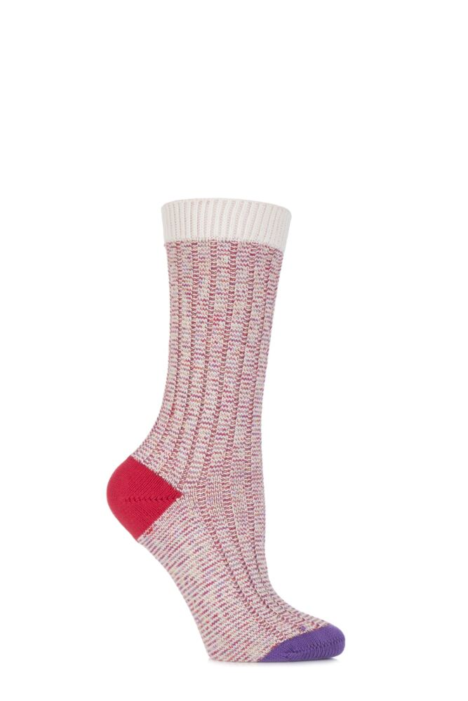 Ladies 1 Pair Scott Nichol Jasmine Ribbed Contrast Top, Heel and Toe Cotton Socks